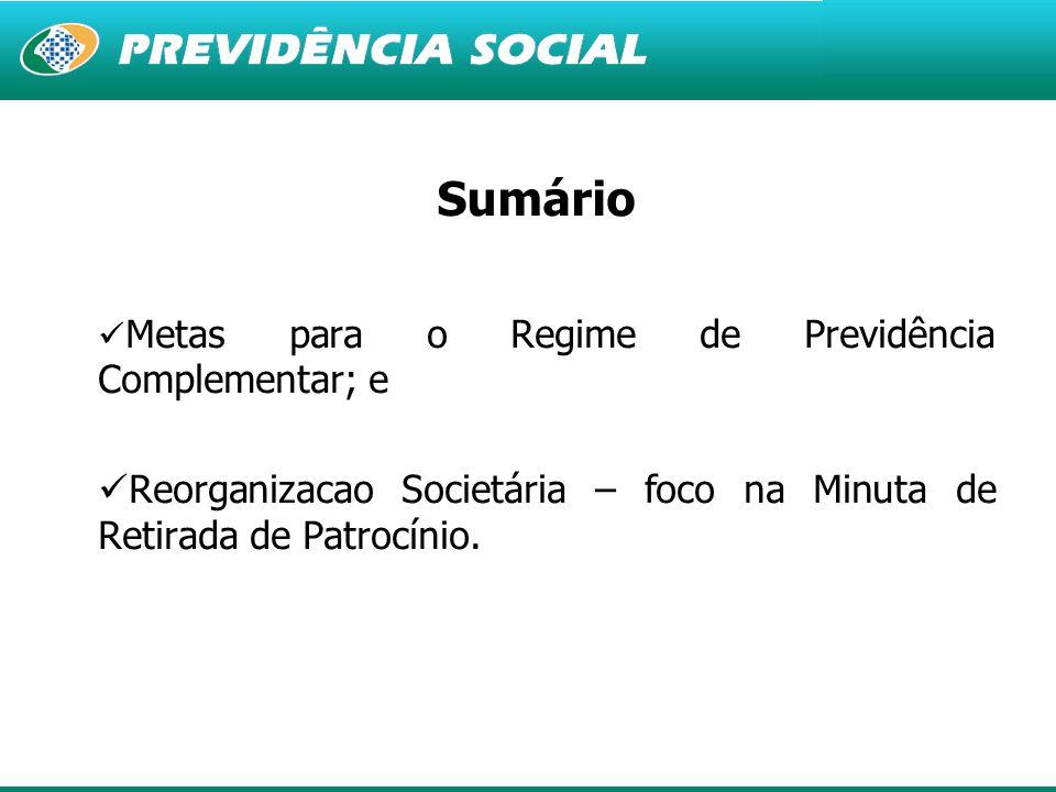 2 Sumário Metas para o Regime de Previdência Complementar; e Reorganizacao Societária – foco na Minuta de Retirada de Patrocínio.