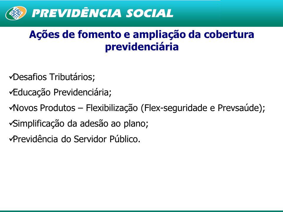 4 Desafios Tributários; Educação Previdenciária; Novos Produtos – Flexibilização (Flex-seguridade e Prevsaúde); Simplificação da adesão ao plano; Previdência do Servidor Público.