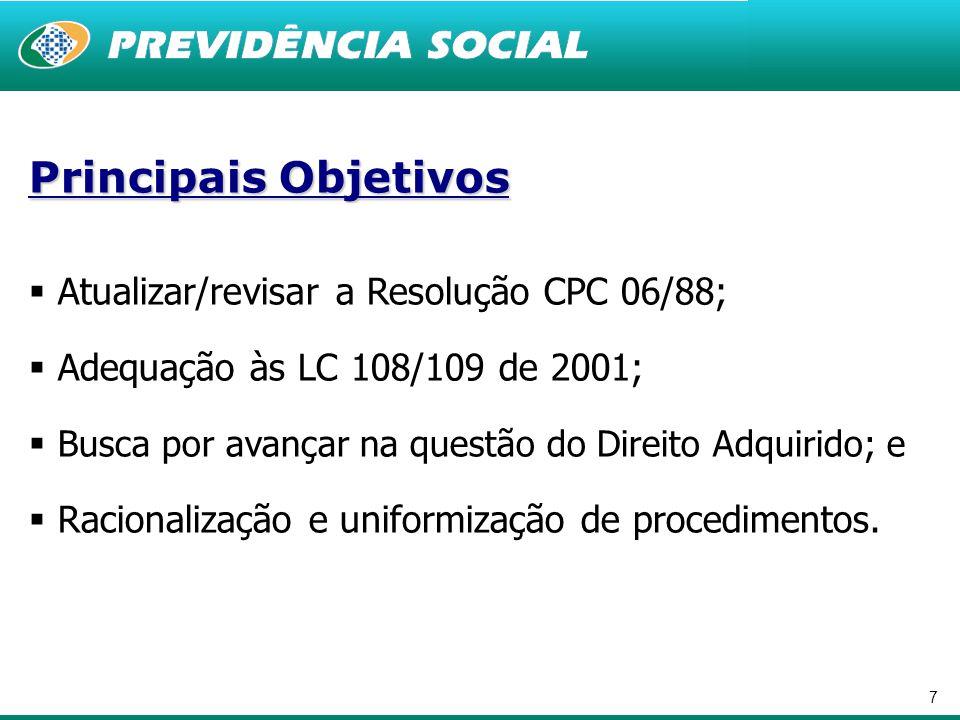 7 Principais Objetivos  Atualizar/revisar a Resolução CPC 06/88;  Adequação às LC 108/109 de 2001;  Busca por avançar na questão do Direito Adquirido; e  Racionalização e uniformização de procedimentos.