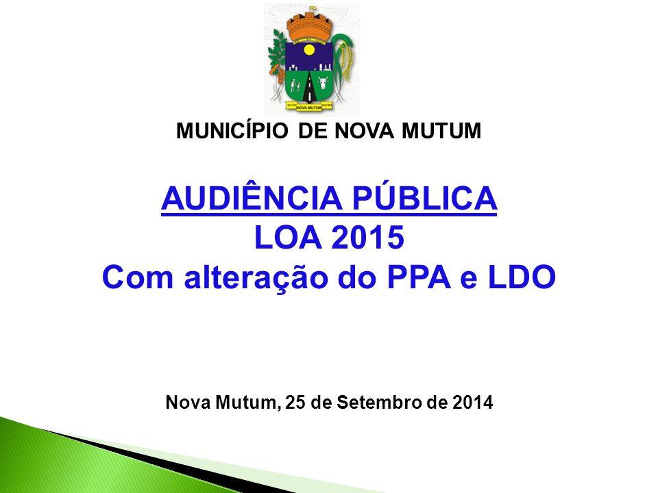 AUDIÊNCIA PÚBLICA LOA 2015 Com alteração do PPA e LDO Nova Mutum, 25 de Setembro de 2014 MUNICÍPIO DE NOVA MUTUM