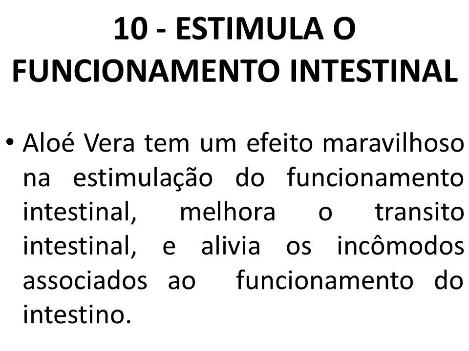 10 - ESTIMULA O FUNCIONAMENTO INTESTINAL Aloé Vera tem um efeito maravilhoso na estimulação do funcionamento intestinal, melhora o transito intestinal