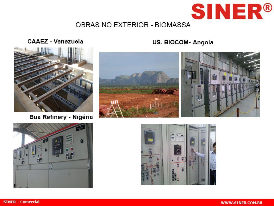 SINER – Comercial WWW.SINER.COM.BR OBRAS NO EXTERIOR - BIOMASSA CAAEZ - Venezuela Bua Refinery - Nigéria US. BIOCOM- Angola