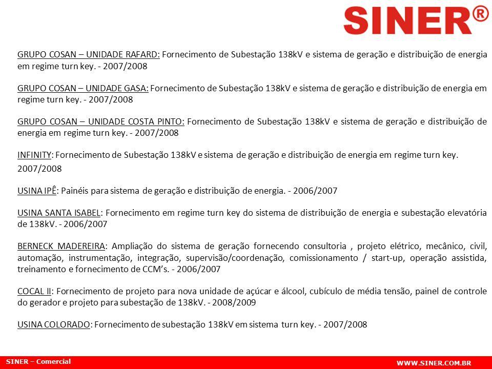 SINER – Comercial WWW.SINER.COM.BR GRUPO COSAN – UNIDADE RAFARD: Fornecimento de Subestação 138kV e sistema de geração e distribuição de energia em re