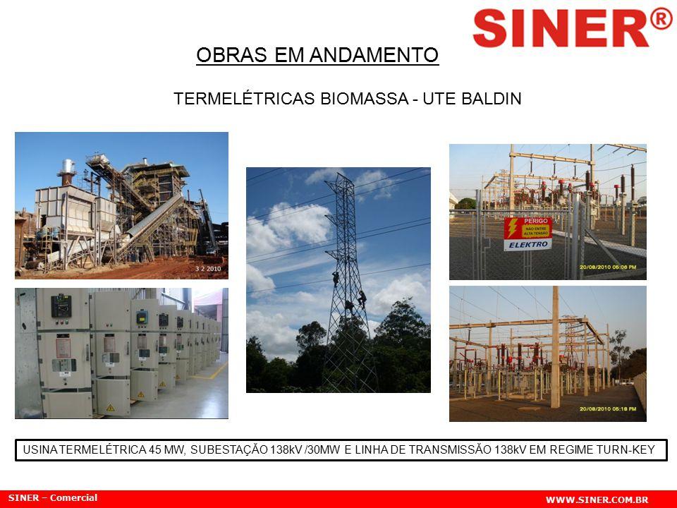 SINER – Comercial WWW.SINER.COM.BR OBRAS EM ANDAMENTO TERMELÉTRICAS BIOMASSA - UTE BALDIN USINA TERMELÉTRICA 45 MW, SUBESTAÇĂO 138kV /30MW E LINHA DE