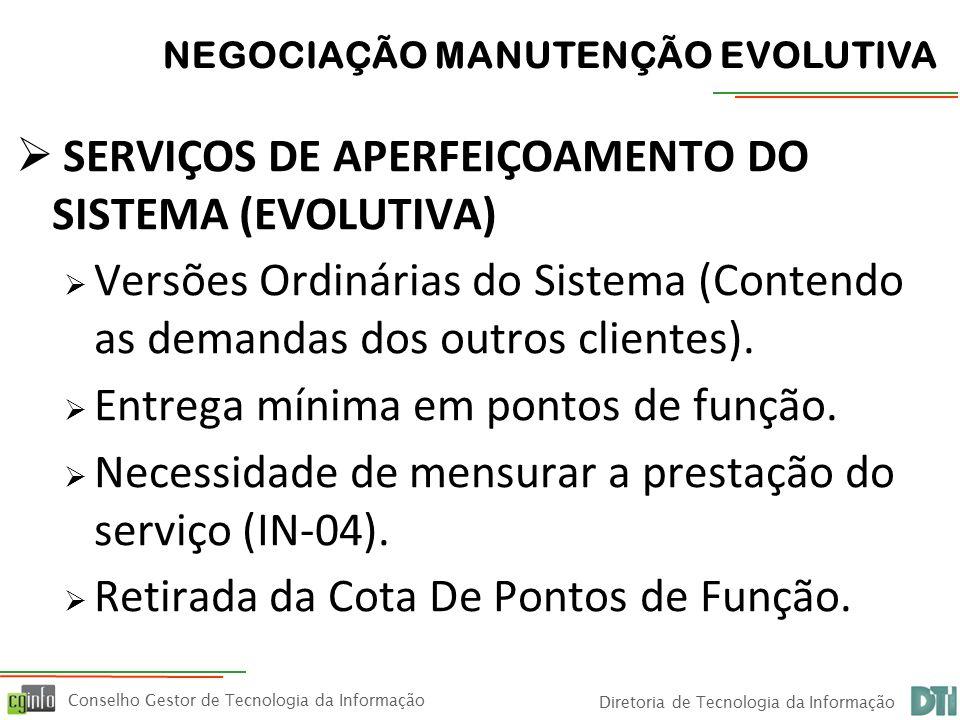 Conselho Gestor de Tecnologia da Informação Diretoria de Tecnologia da Informação  REPU e as Modalidades de Desenvolvimento  Desenvolvimento na cota garantida  Desenvolvimentos extra cota (fator de ajuste)  Desenvolvimento Paralelo Garantido (Capers Jones)  Desenvolvimento CNJ e Legislação  Desenvolvimento Paralelo Negociável  Desenvolvimentos Compartilhados  Desenvolvimentos Rápidos (Fausto) NEGOCIAÇÃO MANUTENÇÃO EVOLUTIVA