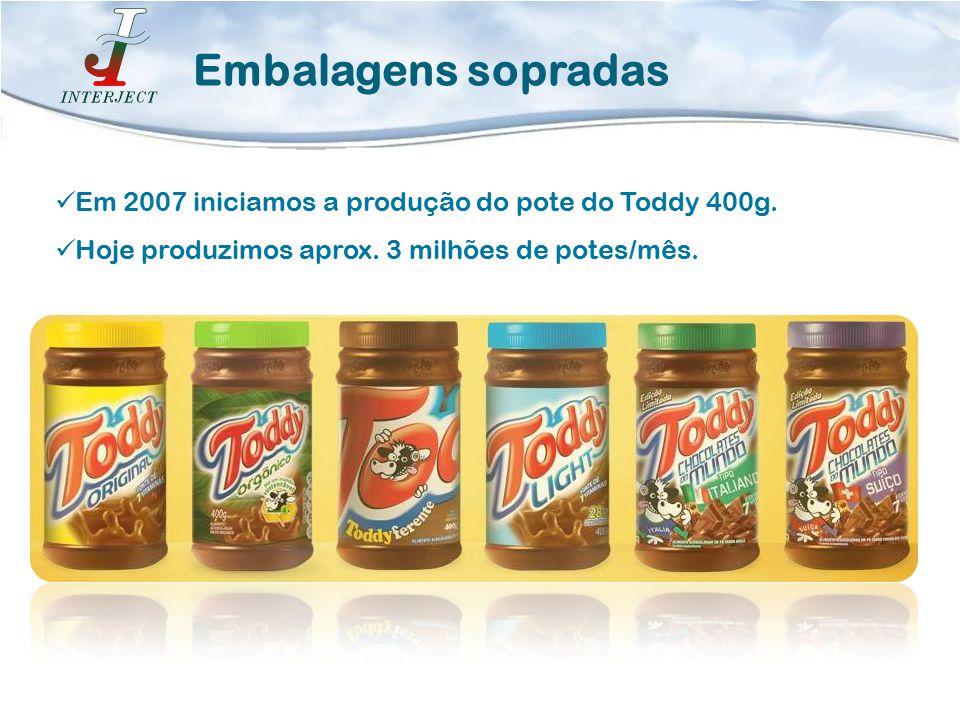 Em 2007 iniciamos a produção do pote do Toddy 400g. Hoje produzimos aprox. 3 milhões de potes/mês. Embalagens sopradas