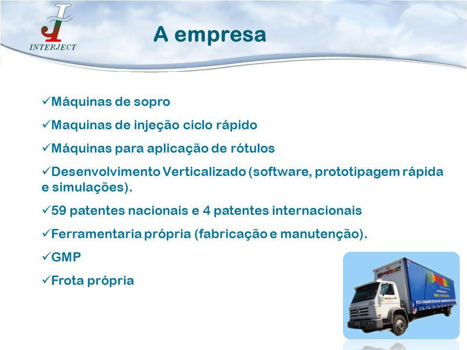 Máquinas de sopro Maquinas de injeção ciclo rápido Máquinas para aplicação de rótulos Desenvolvimento Verticalizado (software, prototipagem rápida e s