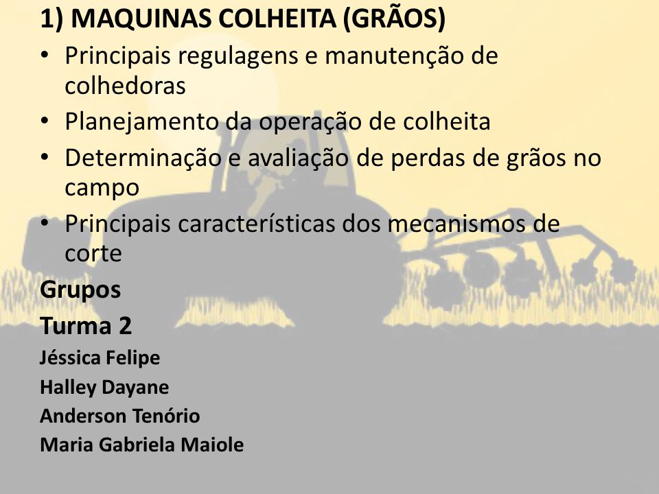 2) PULVERIZADORES (costais, de barra, tração animal) Principais regulagens e manutenção Calibração e métodos de calibração de pulverizadores Cuidados e recomendações durante a aplicação (segurança) Equipamentos de proteção individual (EPI) Aspectos operacionais das técnicas de aplicação Grupos Turma 1Turma2 Joao PedroGabriela Torres Victor HugoAnne Caroline Arthur BrazRobson Erivaldo GuedesJoão Pedro Mario VitalRoberto