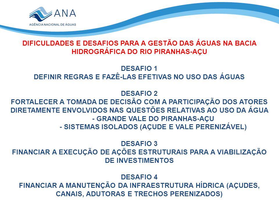 DIFICULDADES E DESAFIOS PARA A GESTÃO DAS ÁGUAS NA BACIA HIDROGRÁFICA DO RIO PIRANHAS-AÇU DESAFIO 1 DEFINIR REGRAS E FAZÊ-LAS EFETIVAS NO USO DAS ÁGUAS DESAFIO 2 FORTALECER A TOMADA DE DECISÃO COM A PARTICIPAÇÃO DOS ATORES DIRETAMENTE ENVOLVIDOS NAS QUESTÕES RELATIVAS AO USO DA ÁGUA - GRANDE VALE DO PIRANHAS-AÇU - SISTEMAS ISOLADOS (AÇUDE E VALE PERENIZÁVEL) DESAFIO 3 FINANCIAR A EXECUÇÃO DE AÇÕES ESTRUTURAIS PARA A VIABILIZAÇÃO DE INVESTIMENTOS DESAFIO 4 FINANCIAR A MANUTENÇÃO DA INFRAESTRUTURA HÍDRICA (AÇUDES, CANAIS, ADUTORAS E TRECHOS PERENIZADOS)