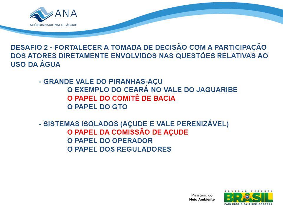 DESAFIO 2 - FORTALECER A TOMADA DE DECISÃO COM A PARTICIPAÇÃO DOS ATORES DIRETAMENTE ENVOLVIDOS NAS QUESTÕES RELATIVAS AO USO DA ÁGUA - GRANDE VALE DO PIRANHAS-AÇU O EXEMPLO DO CEARÁ NO VALE DO JAGUARIBE O PAPEL DO COMITÊ DE BACIA O PAPEL DO GTO - SISTEMAS ISOLADOS (AÇUDE E VALE PERENIZÁVEL) O PAPEL DA COMISSÃO DE AÇUDE O PAPEL DO OPERADOR O PAPEL DOS REGULADORES
