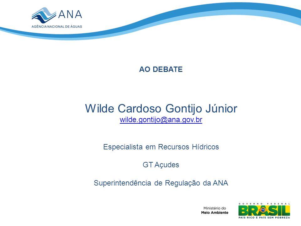 AO DEBATE Wilde Cardoso Gontijo Júnior wilde.gontijo@ana.gov.br Especialista em Recursos Hídricos GT Açudes Superintendência de Regulação da ANA