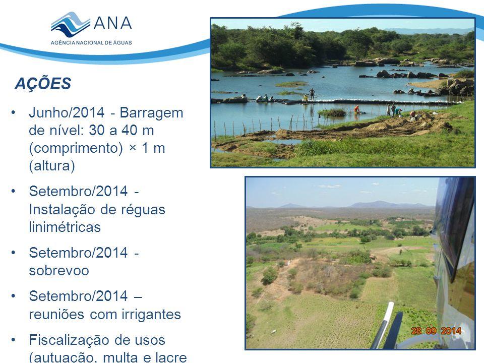 AÇÕES Junho/2014 - Barragem de nível: 30 a 40 m (comprimento) × 1 m (altura) Setembro/2014 - Instalação de réguas linimétricas Setembro/2014 - sobrevo