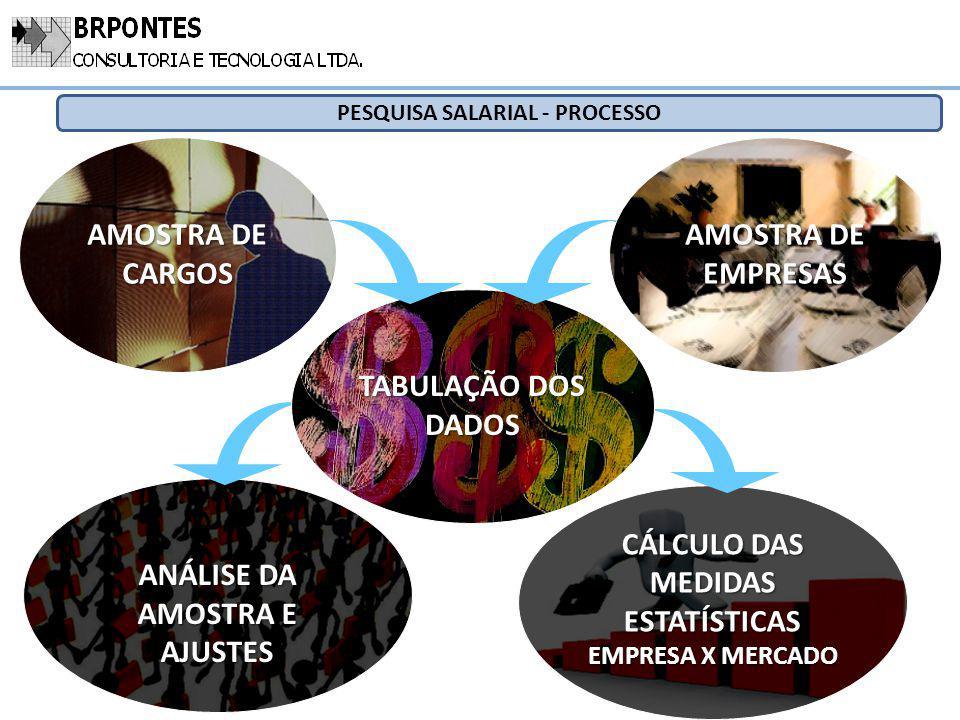 ANÁLISE DA AMOSTRA E AJUSTES CÁLCULO DAS MEDIDAS ESTATÍSTICAS EMPRESA X MERCADO TABULAÇÃO DOS DADOS AMOSTRA DE CARGOS AMOSTRA DE EMPRESAS PESQUISA SAL