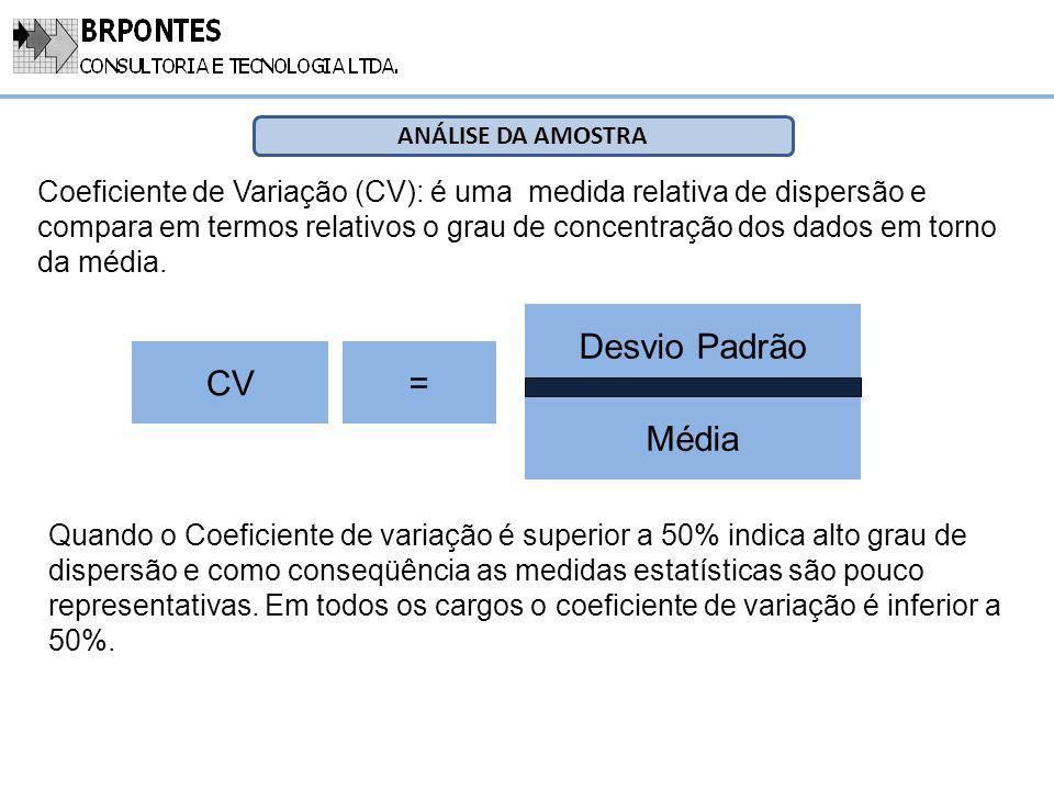 ANÁLISE DA AMOSTRA Coeficiente de Variação (CV): é uma medida relativa de dispersão e compara em termos relativos o grau de concentração dos dados em