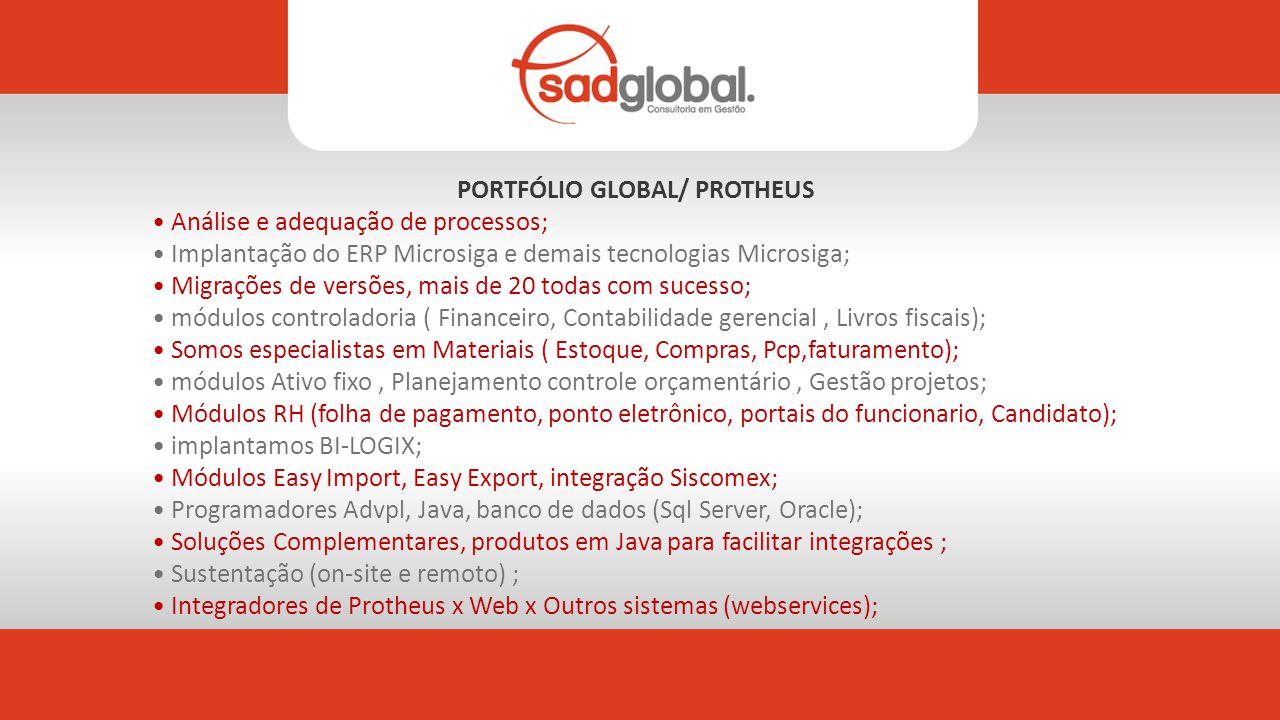 PORTFÓLIO GLOBAL/ PROTHEUS Análise e adequação de processos; Implantação do ERP Microsiga e demais tecnologias Microsiga; Migrações de versões, mais de 20 todas com sucesso; módulos controladoria ( Financeiro, Contabilidade gerencial, Livros fiscais); Somos especialistas em Materiais ( Estoque, Compras, Pcp,faturamento); módulos Ativo fixo, Planejamento controle orçamentário, Gestão projetos; Módulos RH (folha de pagamento, ponto eletrônico, portais do funcionario, Candidato); implantamos BI-LOGIX; Módulos Easy Import, Easy Export, integração Siscomex; Programadores Advpl, Java, banco de dados (Sql Server, Oracle); Soluções Complementares, produtos em Java para facilitar integrações ; Sustentação (on-site e remoto) ; Integradores de Protheus x Web x Outros sistemas (webservices);