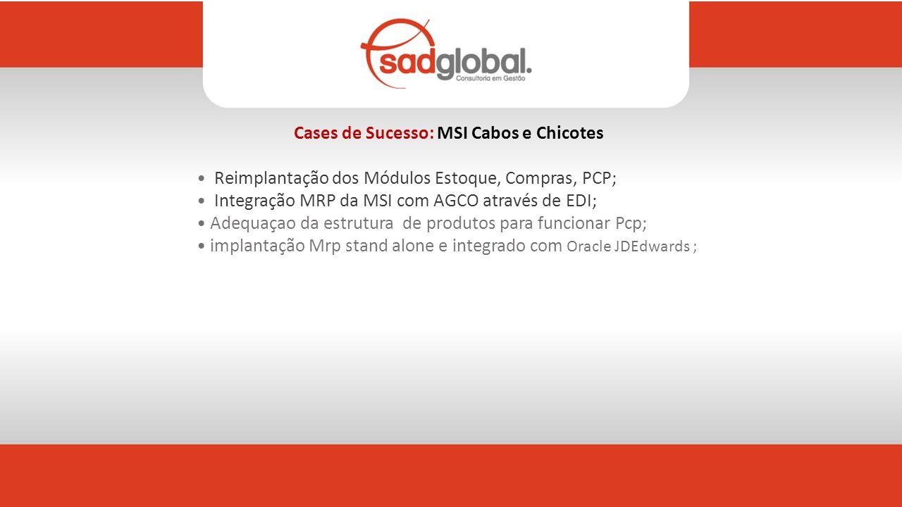 Cases de Sucesso: MSI Cabos e Chicotes Reimplantação dos Módulos Estoque, Compras, PCP; Integração MRP da MSI com AGCO através de EDI; Adequaçao da estrutura de produtos para funcionar Pcp; implantação Mrp stand alone e integrado com Oracle JDEdwards ;