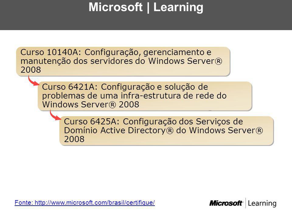 Microsoft Learning Fonte: http://www.microsoft.com/brasil/certifique/ Curso 6425A: Configuração dos Serviços de Domínio Active Directory® do Windows Server® 2008 Curso 6421A: Configuração e solução de problemas de uma infra-estrutura de rede do Windows Server® 2008 Curso 10140A: Configuração, gerenciamento e manutenção dos servidores do Windows Server® 2008 Microsoft | Learning