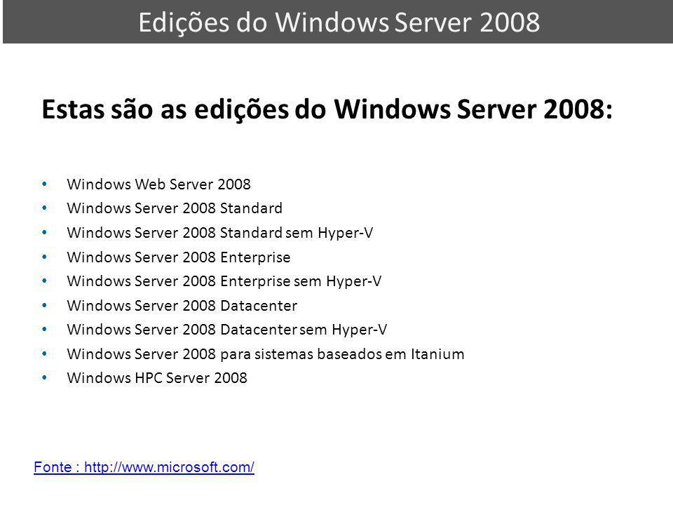 Estas são as edições do Windows Server 2008: Windows Web Server 2008 Windows Server 2008 Standard Windows Server 2008 Standard sem Hyper-V Windows Ser