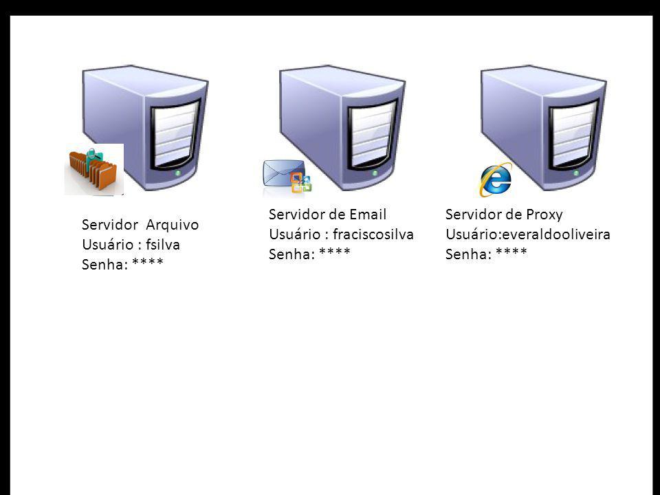 Servidor Arquivo Usuário : fsilva Senha: **** Servidor de Email Usuário : fraciscosilva Senha: **** Servidor de Proxy Usuário:everaldooliveira Senha: ****