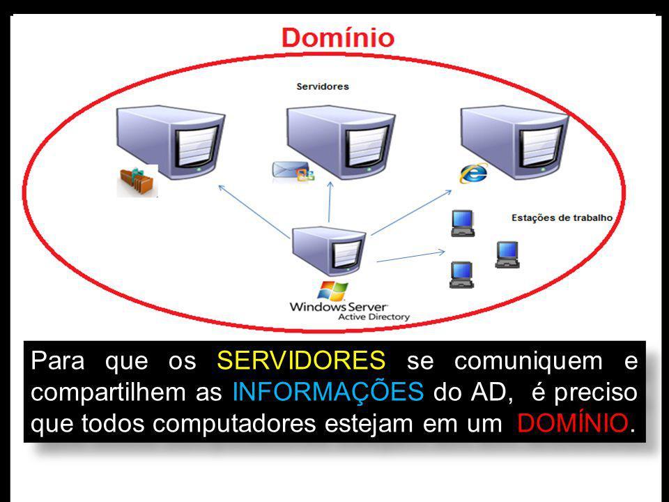 Para que os SERVIDORES se comuniquem e compartilhem as INFORMAÇÕES do AD, é preciso que todos computadores estejam em um DOMÍNIO.