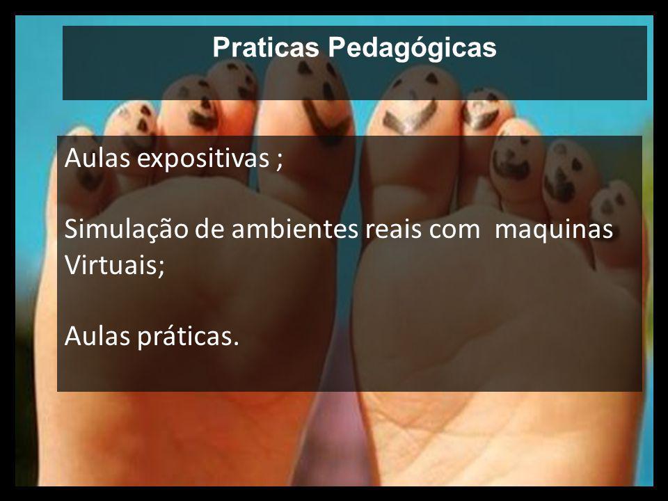 Praticas Pedagógicas Aulas expositivas ; Simulação de ambientes reais com maquinas Virtuais; Aulas práticas.