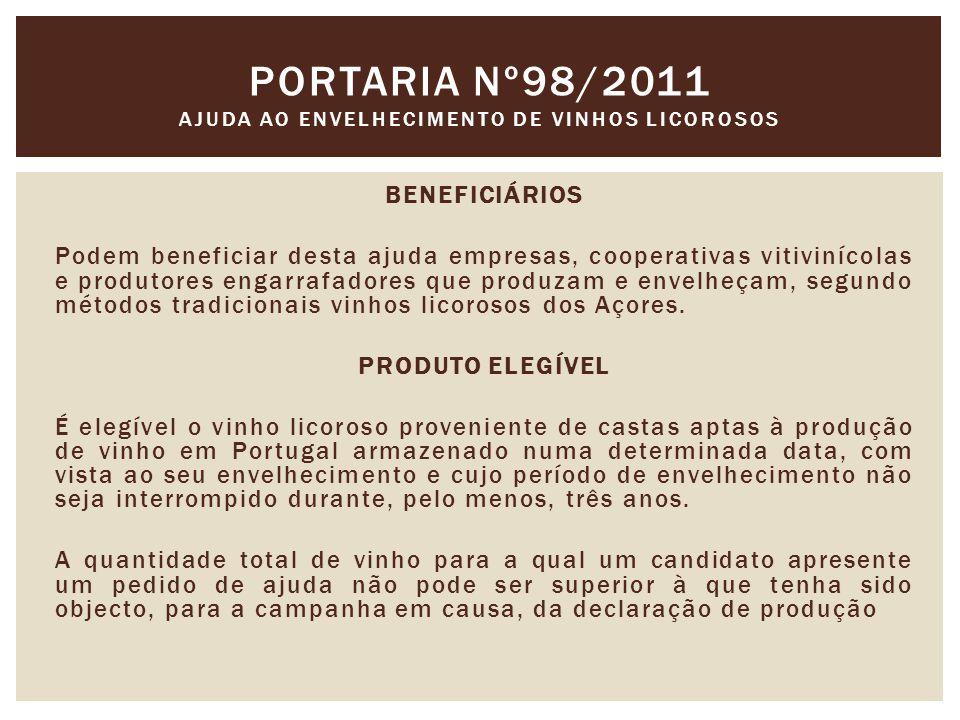 BENEFICIÁRIOS Podem beneficiar desta ajuda empresas, cooperativas vitivinícolas e produtores engarrafadores que produzam e envelheçam, segundo métodos tradicionais vinhos licorosos dos Açores.