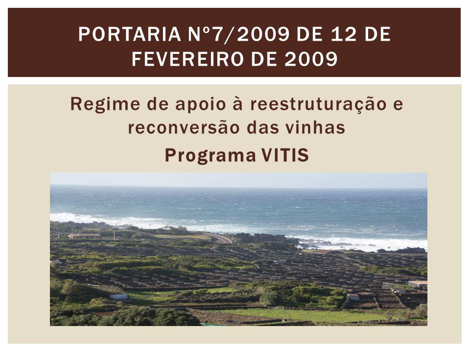 Regime de apoio à reestruturação e reconversão das vinhas Programa VITIS PORTARIA Nº7/2009 DE 12 DE FEVEREIRO DE 2009