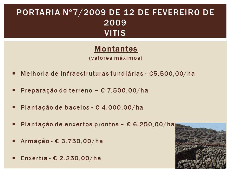 Montantes (valores máximos)  Melhoria de infraestruturas fundiárias - €5.500,00/ha  Preparação do terreno – € 7.500,00/ha  Plantação de bacelos - € 4.000,00/ha  Plantação de enxertos prontos – € 6.250,00/ha  Armação - € 3.750,00/ha  Enxertia - € 2.250,00/ha PORTARIA Nº7/2009 DE 12 DE FEVEREIRO DE 2009 VITIS