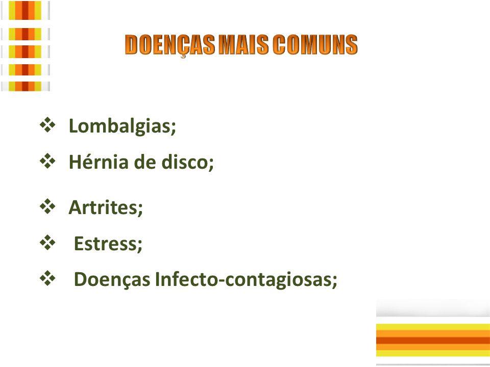  Lombalgias;  Hérnia de disco;  Artrites;  Estress;  Doenças Infecto-contagiosas;