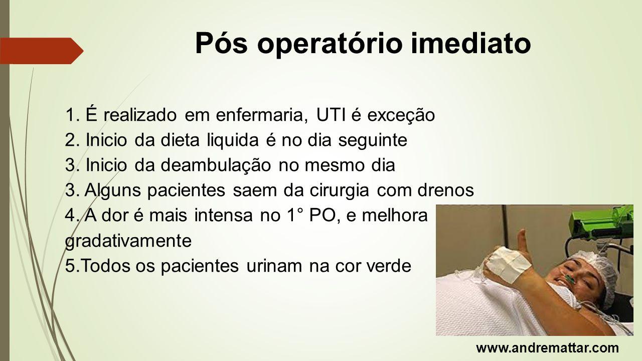 Pós operatório imediato 1. É realizado em enfermaria, UTI é exceção 2. Inicio da dieta liquida é no dia seguinte 3. Inicio da deambulação no mesmo dia