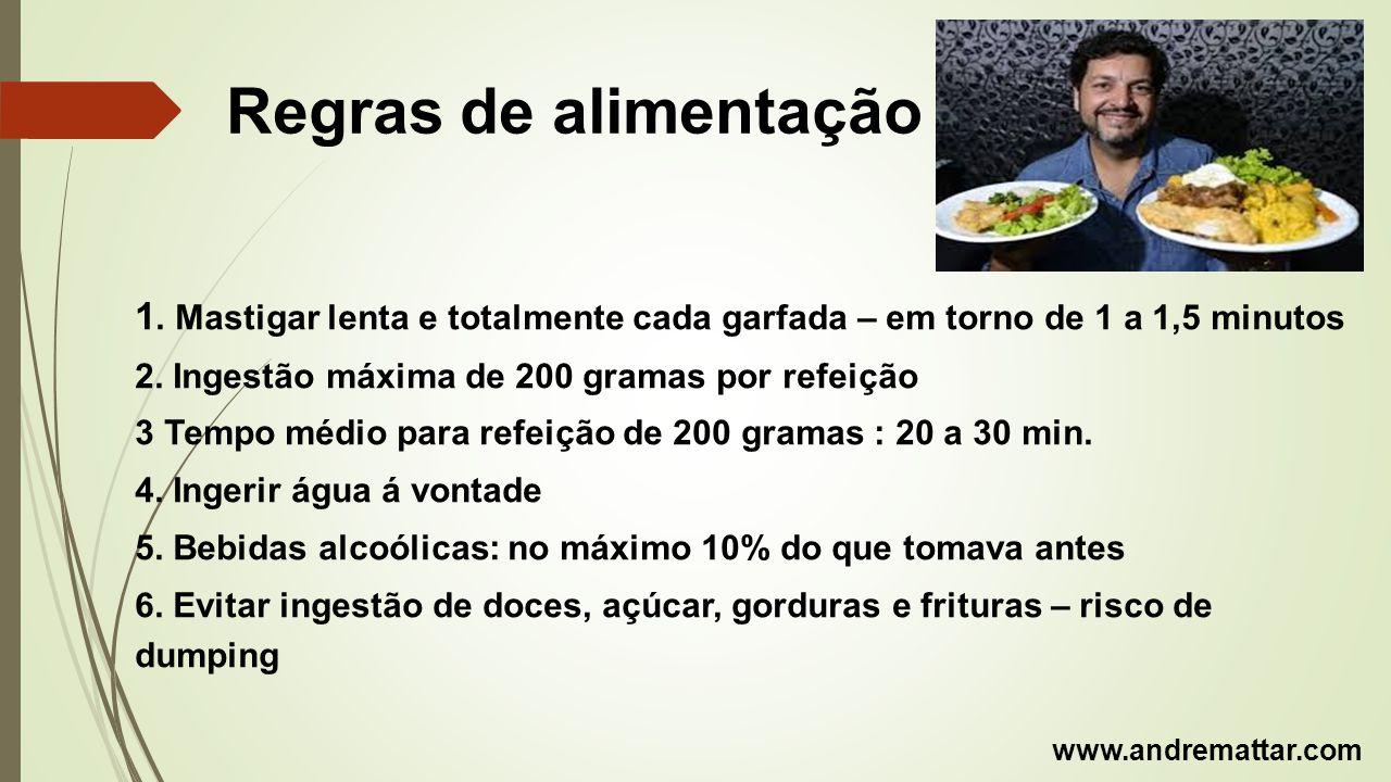 Regras de alimentação 1. Mastigar lenta e totalmente cada garfada – em torno de 1 a 1,5 minutos 2. Ingestão máxima de 200 gramas por refeição 3 Tempo