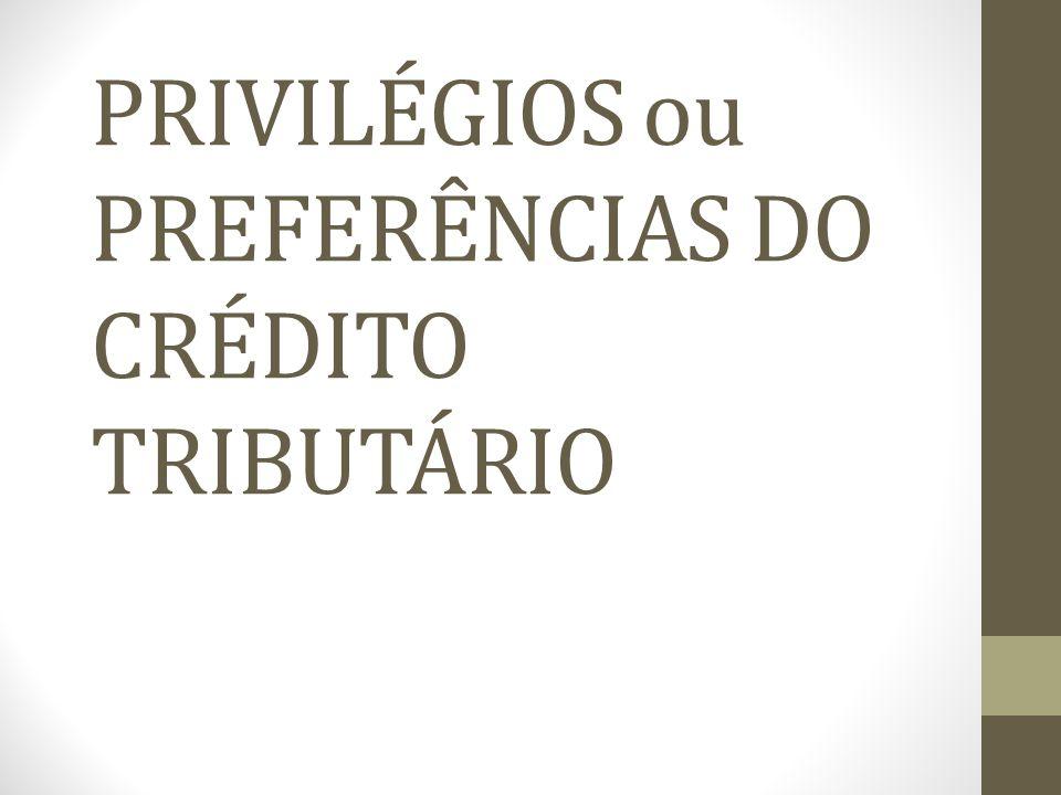 PRIVILÉGIOS ou PREFERÊNCIAS DO CRÉDITO TRIBUTÁRIO