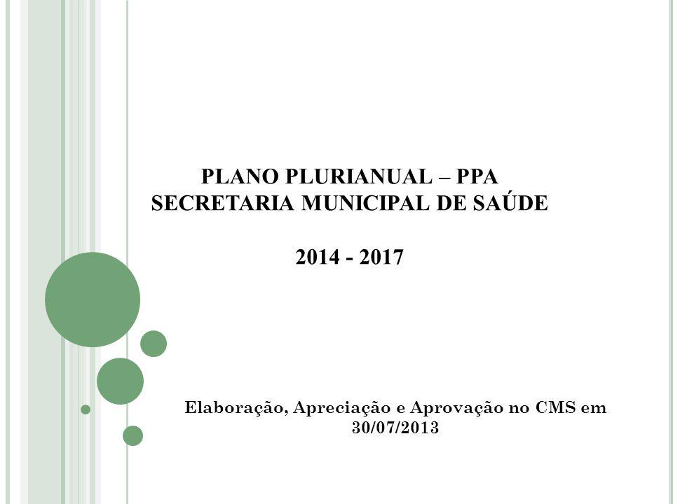 PLANO PLURIANUAL – PPA SECRETARIA MUNICIPAL DE SAÚDE 2014 - 2017 Elaboração, Apreciação e Aprovação no CMS em 30/07/2013
