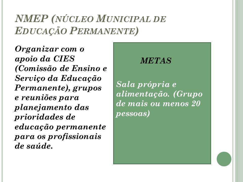 NMEP ( NÚCLEO M UNICIPAL DE E DUCAÇÃO P ERMANENTE ) Organizar com o apoio da CIES (Comissão de Ensino e Serviço da Educação Permanente), grupos e reun