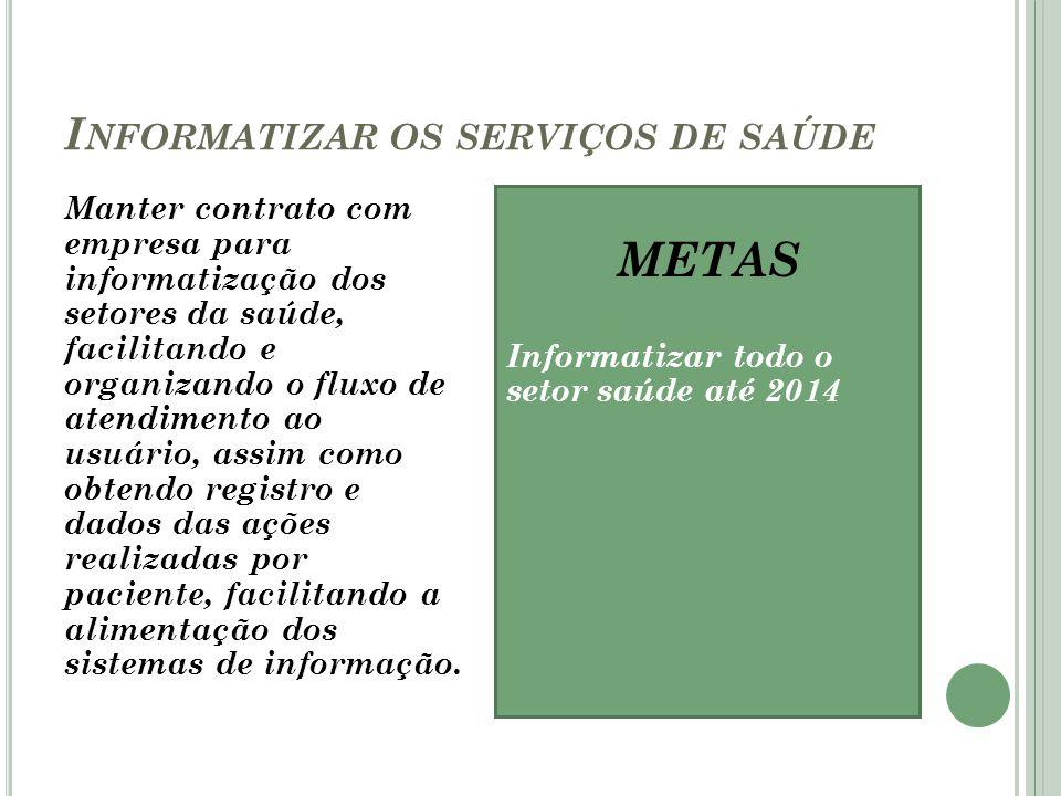 I NFORMATIZAR OS SERVIÇOS DE SAÚDE Manter contrato com empresa para informatização dos setores da saúde, facilitando e organizando o fluxo de atendime