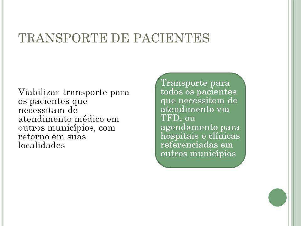 TRANSPORTE DE PACIENTES Viabilizar transporte para os pacientes que necessitam de atendimento médico em outros municípios, com retorno em suas localid