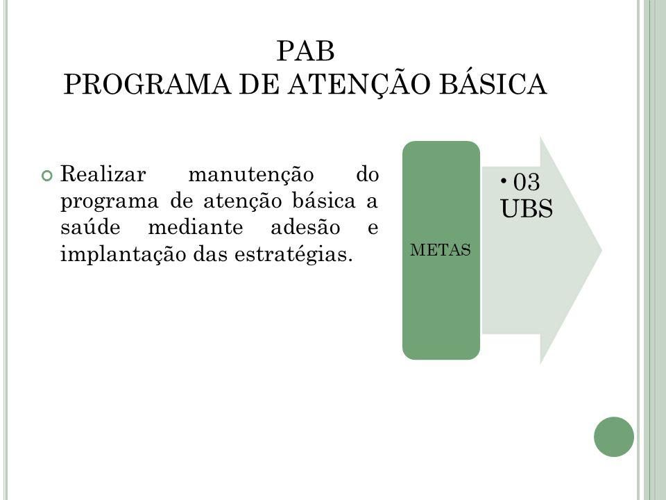 PAB PROGRAMA DE ATENÇÃO BÁSICA Realizar manutenção do programa de atenção básica a saúde mediante adesão e implantação das estratégias. 03 UBS METAS