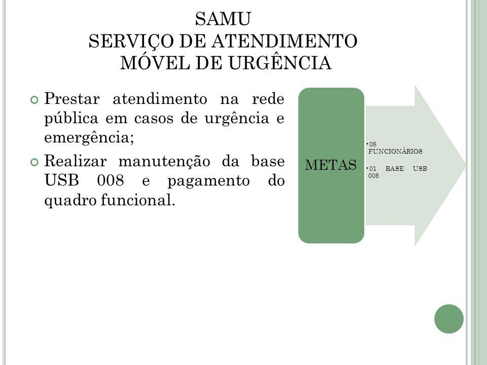 SAMU SERVIÇO DE ATENDIMENTO MÓVEL DE URGÊNCIA Prestar atendimento na rede pública em casos de urgência e emergência; Realizar manutenção da base USB 0