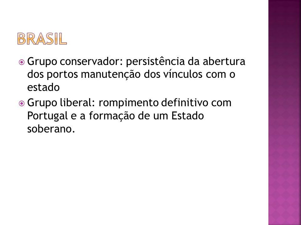  Grupo conservador: persistência da abertura dos portos manutenção dos vínculos com o estado  Grupo liberal: rompimento definitivo com Portugal e a formação de um Estado soberano.