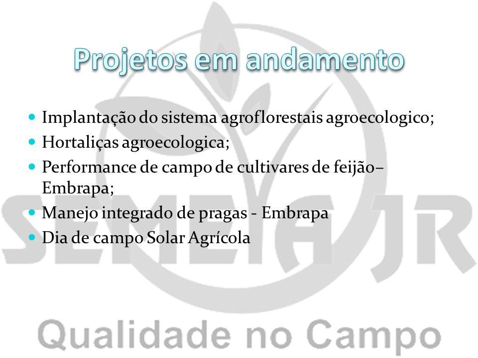 Implantação do sistema agroflorestais agroecologico; Hortaliças agroecologica; Performance de campo de cultivares de feijão– Embrapa; Manejo integrado