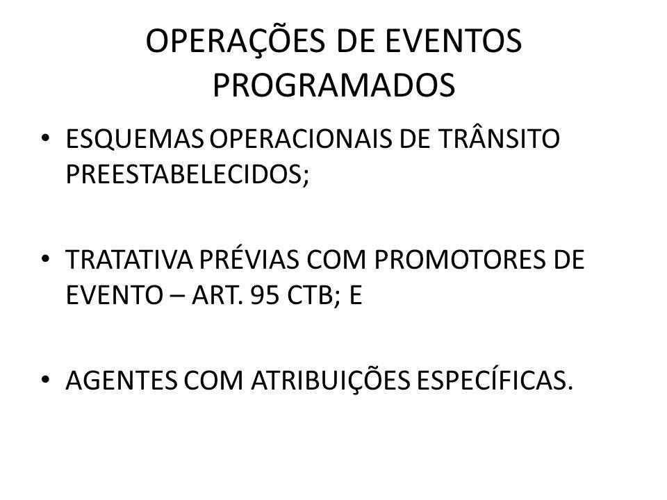 OPERAÇÕES DE EVENTOS PROGRAMADOS ESQUEMAS OPERACIONAIS DE TRÂNSITO PREESTABELECIDOS; TRATATIVA PRÉVIAS COM PROMOTORES DE EVENTO – ART. 95 CTB; E AGENT