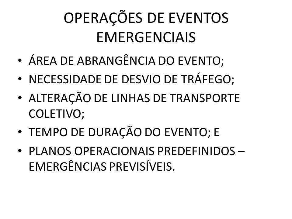 OPERAÇÕES DE EVENTOS EMERGENCIAIS ÁREA DE ABRANGÊNCIA DO EVENTO; NECESSIDADE DE DESVIO DE TRÁFEGO; ALTERAÇÃO DE LINHAS DE TRANSPORTE COLETIVO; TEMPO D