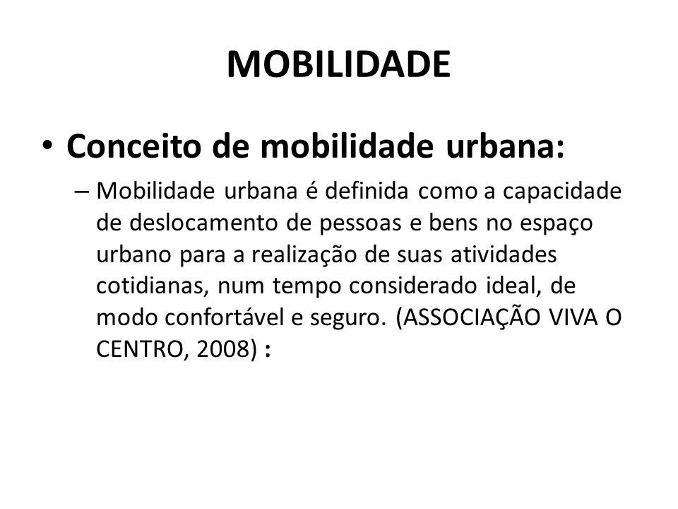 MOBILIDADE Conceito de mobilidade urbana: – Mobilidade urbana é definida como a capacidade de deslocamento de pessoas e bens no espaço urbano para a realização de suas atividades cotidianas, num tempo considerado ideal, de modo confortável e seguro.