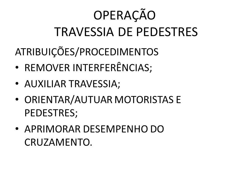 OPERAÇÃO TRAVESSIA DE PEDESTRES ATRIBUIÇÕES/PROCEDIMENTOS REMOVER INTERFERÊNCIAS; AUXILIAR TRAVESSIA; ORIENTAR/AUTUAR MOTORISTAS E PEDESTRES; APRIMORA