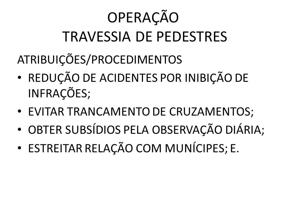 OPERAÇÃO TRAVESSIA DE PEDESTRES ATRIBUIÇÕES/PROCEDIMENTOS REDUÇÃO DE ACIDENTES POR INIBIÇÃO DE INFRAÇÕES; EVITAR TRANCAMENTO DE CRUZAMENTOS; OBTER SUBSÍDIOS PELA OBSERVAÇÃO DIÁRIA; ESTREITAR RELAÇÃO COM MUNÍCIPES; E.