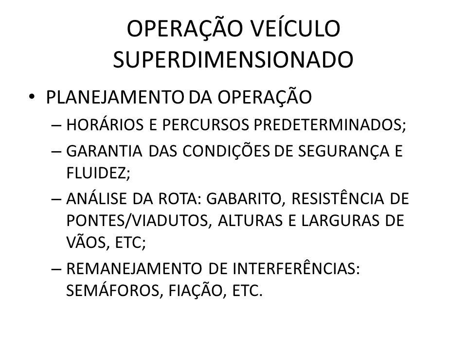 OPERAÇÃO VEÍCULO SUPERDIMENSIONADO PLANEJAMENTO DA OPERAÇÃO – HORÁRIOS E PERCURSOS PREDETERMINADOS; – GARANTIA DAS CONDIÇÕES DE SEGURANÇA E FLUIDEZ; –