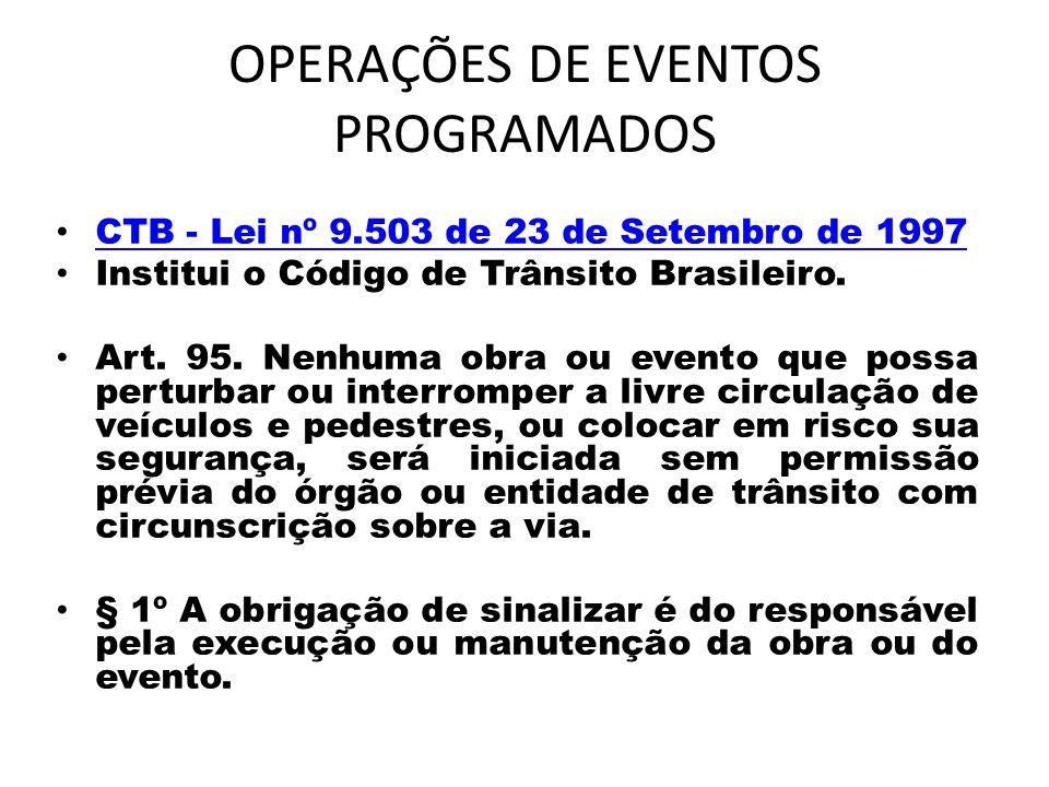 OPERAÇÕES DE EVENTOS PROGRAMADOS CTB - Lei nº 9.503 de 23 de Setembro de 1997 CTB - Lei nº 9.503 de 23 de Setembro de 1997 Institui o Código de Trânsito Brasileiro.