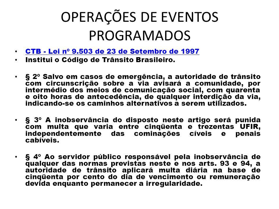 OPERAÇÕES DE EVENTOS PROGRAMADOS CTB - Lei nº 9.503 de 23 de Setembro de 1997 CTB - Lei nº 9.503 de 23 de Setembro de 1997 Institui o Código de Trânsi