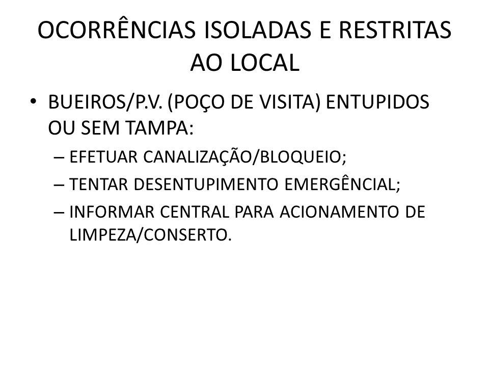 OCORRÊNCIAS ISOLADAS E RESTRITAS AO LOCAL BUEIROS/P.V.