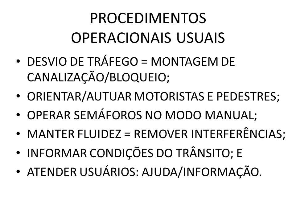 PROCEDIMENTOS OPERACIONAIS USUAIS DESVIO DE TRÁFEGO = MONTAGEM DE CANALIZAÇÃO/BLOQUEIO; ORIENTAR/AUTUAR MOTORISTAS E PEDESTRES; OPERAR SEMÁFOROS NO MODO MANUAL; MANTER FLUIDEZ = REMOVER INTERFERÊNCIAS; INFORMAR CONDIÇÕES DO TRÂNSITO; E ATENDER USUÁRIOS: AJUDA/INFORMAÇÃO.